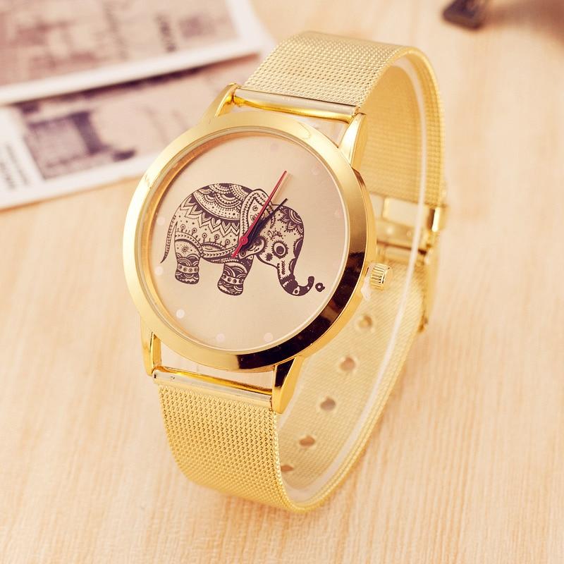 Hot Sale Elephant Pattern Stainless Steel Watch Gold Mesh Belt Quartz Watch Women Casual Sport Wrist Watch Relogio Feminino<br><br>Aliexpress