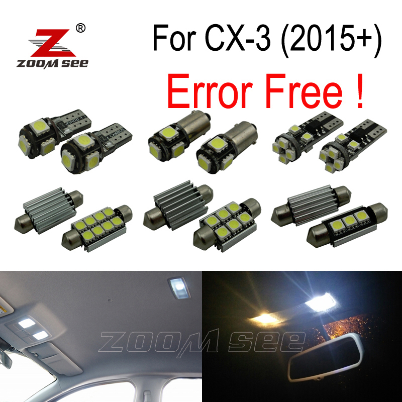 11pcs LED license plate lamp + interior lights kit + Backup Reverse Bulb for Mazda CX-3 CX3 Touring (2015+) <br>