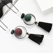 Buy LNRRABC Hot Sale Red Green Long Beads Chain Tassel Wood Beads Pendants Sweater Chain Pendant Necklace for $1.87 in AliExpress store