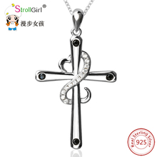 SG 925 Sterling Silver Chain Pendant Necklace Fashion Jewelry Winding CZ Heart Of The Cross Necklaces & Pendants For Women 2017(China)