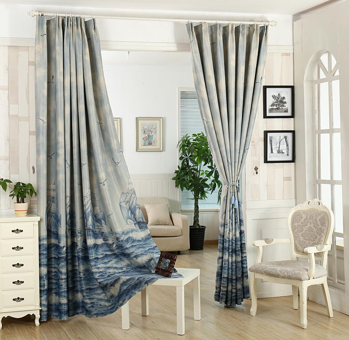 New Arrival Blue Sea Shade Cloth Curtains Blue Boat Curtains For Bedroom  And Living Room Free