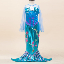 New Halloween Carnival Cosplay Girls Kids Mermaid Princess Party Costumes Fishtail Dress Children Performance Clothing