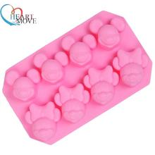 8 cavity Mickey Minnie mouse shape Silicone mold handmade Chocolate Fondant cake mould Baking mold DIY tools 9498