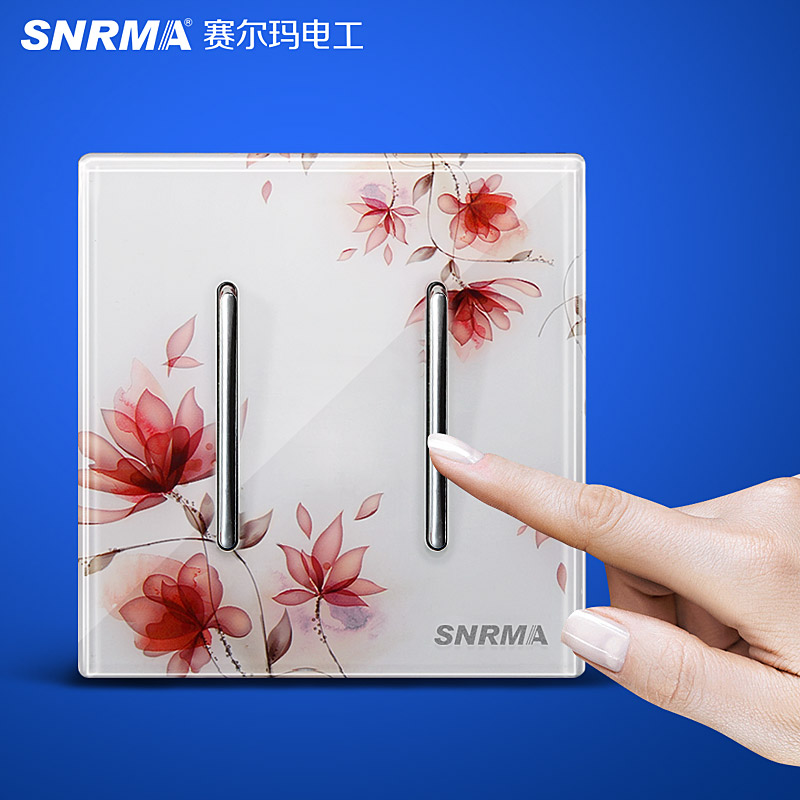 Free Shipping, 2 Gangs 1 Way, Luxury Crystal Glass Wall Light Switch Panel, SNRMA Art Series, 110~250V, Press Push button Switch<br><br>Aliexpress
