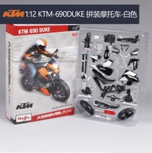 Maisto 1:12  KTM-690 DUKE white Assembly Line DIY diecast Motorcycle Model