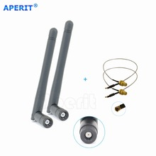 Aperit 2 2dBi WiFi RP-SMA Dual Band Antennas + 2 U.fl cables for Linksys Wireless Routers EA6200(China)