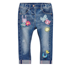 new Fall kids denim trousers casual baby girls Jeans cartoon embroidery Animals children clothing pants(China)