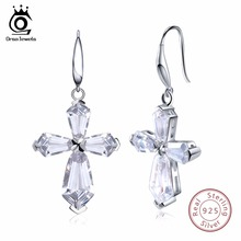 ORSA JEWELS Women Earrings Long 925 Genuine Sterling Silver Luxury Cross AAA CZ Engagement Wedding Female Party Jewelry SE51(China)