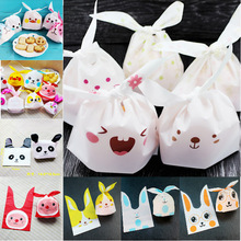 50pcs Cute Panda Rabbit Ear Self-adhesive Plastic Cookie Bags Candy Snack Baking Food Bag For Home Birthday Wedding Decoration(China)