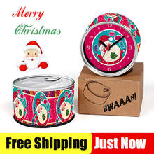 Free Shipping To Santa Clause Red 2pcs/lot Christmas Clocks Kitchen Fridge Magnets Aluminum Can Wall Clocks,Metal Tin Clocks