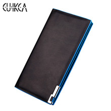 CUIKCA New Fashion Wallet Men Wallet Men Handbags Waterproof Leather Blue Edge Iron Included Angle Men Purse Card Holders 035(China)