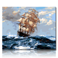 Frameless Diy oil painting by numbers landscape painting ship on canvas home decoration unique gift craft paint