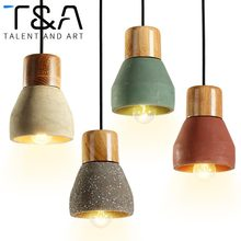 4 colors Loft American Country Style wood cement Pendant Light E27 Socket Droplight indoor Decoration Hanging Lamp kitchen cafe(China)