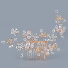 Bride Wedding Metal Hair Comb Leaves Flowers Crystal Rhinestones Hair Accessories Handmade Bridemaid Hair Jewelry Bridal Party