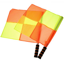 2PCS/ Pair Soccer/ Football Referee Flag With Carry Bag Judge Sideline Fair Play Use Sports Match Football Rugby Hockey Training