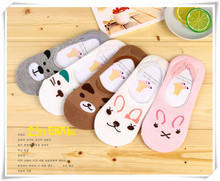 Lnvisible Women Sock Cartoon Cotton Sock Slippers Dog Invisible Socks Funny Kawaii Sock-Factory