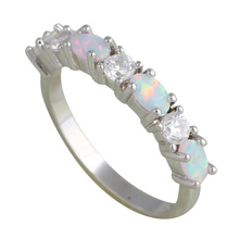 summer jewelry delicate design White fire Opal Silver Stamped zirconia fashion jewelry Rings for Ladies USA Size #6#7#8#9 OR698A