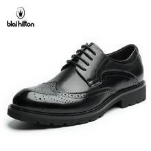 Blaibilton 100% Genuine Leather Brogue Business Formal Dress Men Shoes Classic Office Wedding Mens Shoes Casual Oxford Italian(China)