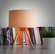 Free Shipping Modern table lamp wood light led light Cloth lamp shade Three legs lamp bed room Office table lamp
