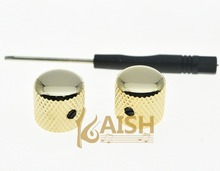 KAISH 2pcs Set Screw Gold Metal Guitar Dome Knobs for Tele Telecaster or Bass Knob