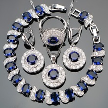 Blue CZ White Rhinestones Costume Silver 925 Jewelry Sets Earrings/Pendant/Necklace/Rings/Bracelets For Women Christmas Gift Box(China)