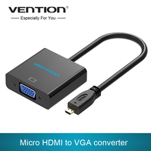 Vention Micro HDMI to VGA Cable HDMI Male to Female VGA Adapter With 3.5mm Audio Jack&Power Supply For Xbox 360 PS3 PS4 Camera