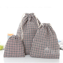 Cosmetic Storage Bags Drawstring Bag Cotton Linen Grid Stripe Festival Gift Bag Wedding Decoration Simple Organizer Travel Pouch(China)