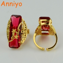 Anniyo ONE PIECE /Red/Blue/Green Ring for Women Gold Color Fashion Arab Rings African Jewelry Ethiopian Wedding #053306