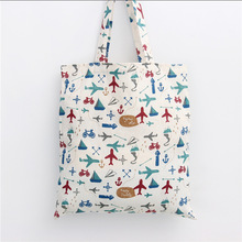 YILE Handmade Cotton Linen Eco Reusable Shopping Shoulder Bag Tote Plane Fighting L053(China)