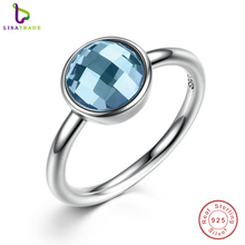 Summer Collection Pure 925 Sterling Silver Rings Blue Stone Finger Ring Women Fine Jewelry PA7183