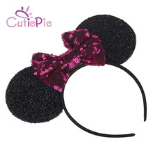 CUTIEPIE Black Big Size Ears Shape with Multi Colors Sequin Bowknot Hair Hoop For Girls DIY Crafts Hair Decorative Accessories