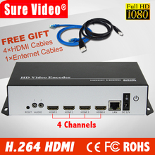 4 channels H.264 HDMI Video Encoder HDMI Transmitter live Broadcast IPTV for YouTube, Facebook, USTREAM, WOWZA, Livestream(China)