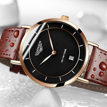 GUANQIN Mens Watches Top Brand Luxury Simple Design Ultra Thin Quartz Watch Men Casual Fashion Leather Wristwatch Montre Homme(China)