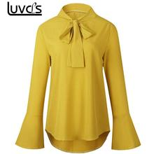 LUVCLS Elegant Trumpet Sleeve Tops Blouse 2017 Women Summer Beach Tops Sexy Petal Full Sleeve Blouse Bow Tie Yellow OL Shirts(China)
