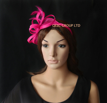 NEW Hot pink Sinamay Feather Fascinator Hat for Ascot Races,Melbourne Cup,Kentucky Derby wedding party.FREE SHIPPING