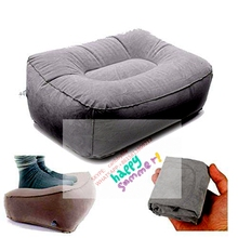 Cheap price inflatable leg up foot rest pillow flocked inflatable seat cushion inflatable airplane foot rest ottoman for sale