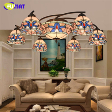 FUMAT European Brief Baroque Glass Shade Ceiling Lamp European Blue Shade Light For Living Room Stained Glass Art Ceiling Lamps(China)