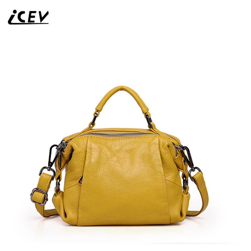 ICEV new fashion candy color cowhide bags handbags women famous brands women leather handbag cow leather genuine leather handbag<br>