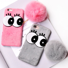 For iPhone 6s Case Cartoon Rabbit Cute Big eyes Hair Fur Case for iPhone 6 7 Winter Plush Soft Ball PC Cover for iPhone 6 7 Plus