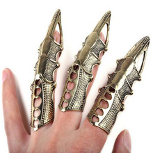 5Pcs/Lot Gothic Punk Hinged Knuckle Full Finger Armor Rings Claw Bulks Women Men Vintage Bronze Color Ring Jewelry Wholesale