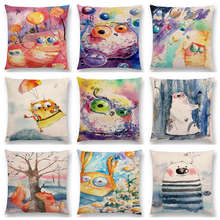 Funny Watercolor Big Small Eyes Animals Friends Cat Fish Bear Bee Dog Fox Owl Rabbit Balloons Cushion Cover Sofa Pillow Case(China)