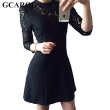GCAROL 2017 Women Euro Sexy Floral Lace Dress Hollow Out Vintage 3/4 Sleeve Flowers Slim Lace Mini Party Dress For 4 Season