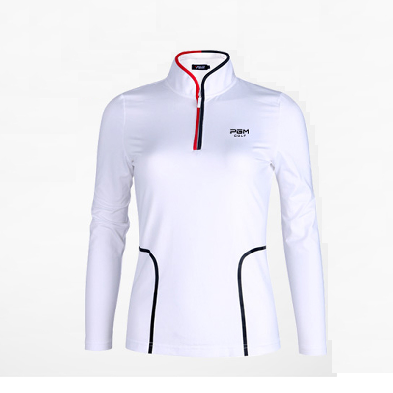 Golf sports Shirts women autumn Long Sleeve slim training shirt with zipper lady Golf apparel tst white black striped shirts<br>