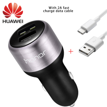Huawei Car Charger 100% Original 9V 2A fast Charge 2A Type-c Cable quick Charger Dual USB for huawei honor 8 V8 V9 nova p9 lite(China)