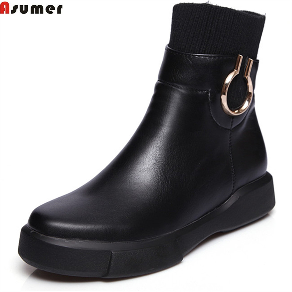 ASUMER black white autumn winter women boots round toe zipper ladies boots bling platform flat with ankle boots big size 34-43<br>