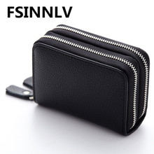 Buy FSINNLV Genuine Leather Unisex ID Card Holder 13 Colors Card Wallet Credit Card Business Card Holder Protector Organizer DC118 for $7.91 in AliExpress store