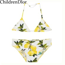 Girls Swimwear 2017 Summer Brand Girls Bikini Kids Swimwear Sicilian Lemon Toddler Swimwear for GirlsTwo Piece Biquini Infantil(China)