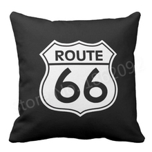 New Hot Route 66 Throw Pillow Case Cushion Cover Decorative Route 66 Road Sign Sofa Car Seat Chair Decoration Gift Two Sides 18""