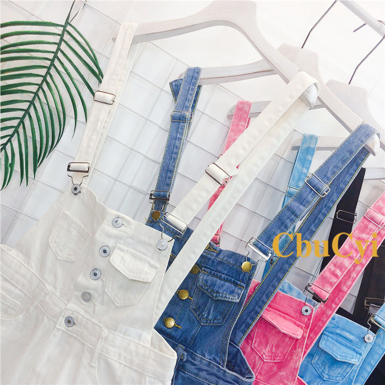 Denim Bibs Schoolgirl 2018 Spring New Loose Korean Thin Thin hole Flashes Fringe Shorts (4)