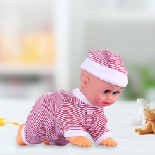 New 18cm Fashion Electric Crawler Baby Playing Pink Will Cry&Dance Will Sing Dancing Crawler Doll Children's Toys WJ897 ingbaby